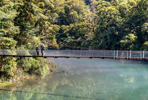 Two hikers stand on a bridge along the Milford Track.
